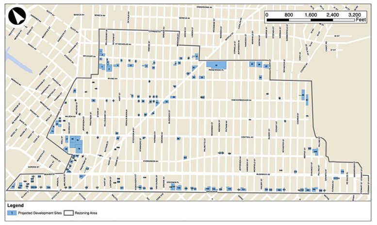 Map illustrates the proposed scope of and boundaries of the Bushwick Neighborhood Plan