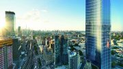 Aerial render of Queens Plaza Park looking west towards Manhattan, from The Durst Organization