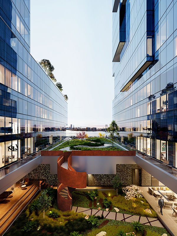 Open air, elevated courtyard at 420 Kent