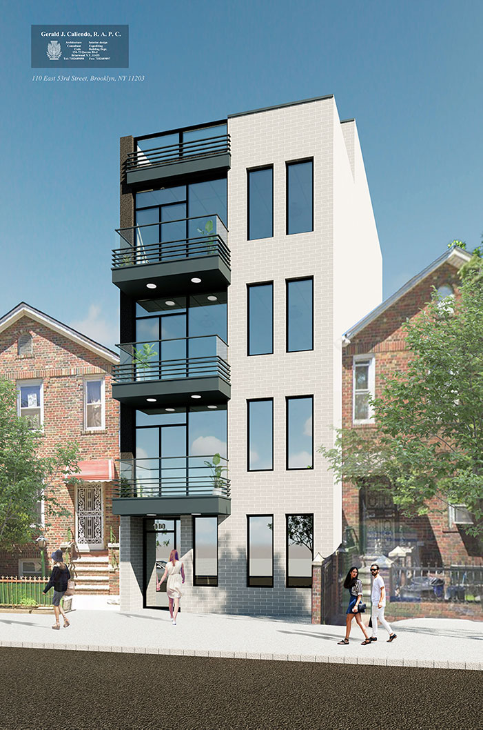 Rendering of 110 East 53rd Street in East Flatbush, Brooklyn -Gerald Caliendo Architect