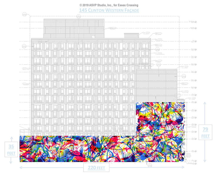 Rendering of the 10,600 square foot mural at Essex Crossing (Photo: ASVP Studio, Inc.)