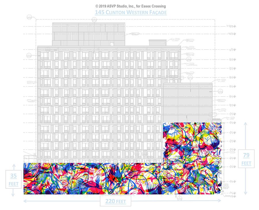 Rendering of the 10,600 square foot mural at Essex Crossing (Photo: ASVP Studio, Inc.)