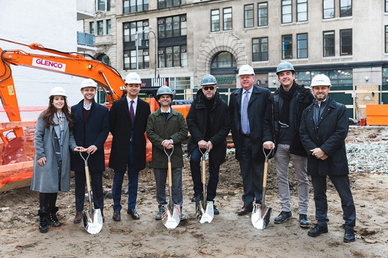 Members of the project team at the ground breaking ceremony for 540 Sixth Avenue. [ From left to right Jill Preschel, VP Sales and Marketing, NY Metro Landsea; Kevin Murray, VP Development, NY Metro Landsea; John Ho, CEO Landsea; David Berger, DNA; Morris Adjmi, Morris Adjmi Architects; Mike Forsum, COO Landsea; Alex Sachs, DNA; Jed Lowry, VP Finance Landsea]