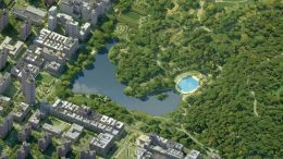 Existing aerial view of the Harlem Meer with Lasker Skating Rink and Swimming Pool [right] - Susan T. Rodriguez Architecture Design