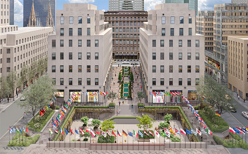 Rendering of proposed renovations to Rockefeller Plaza - Tishman Speyer / Gabellini Sheppard Associates