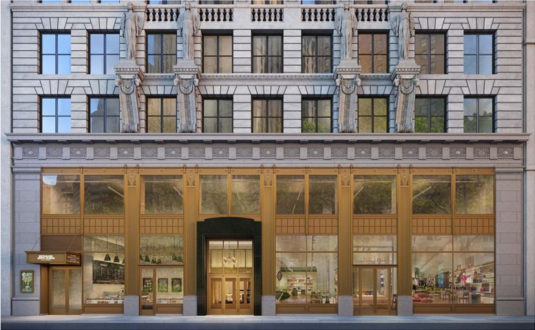 Rendering of refurbished facade at 15 Park Row - Fogarty Finger Architecture