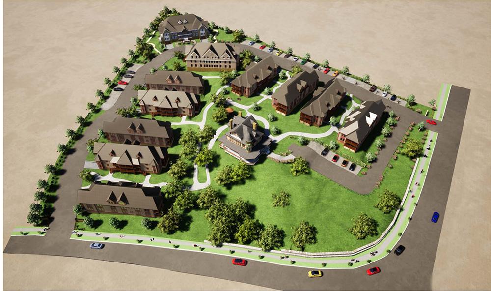 Aerial rendering of the Kreischer House Development in Staten Island