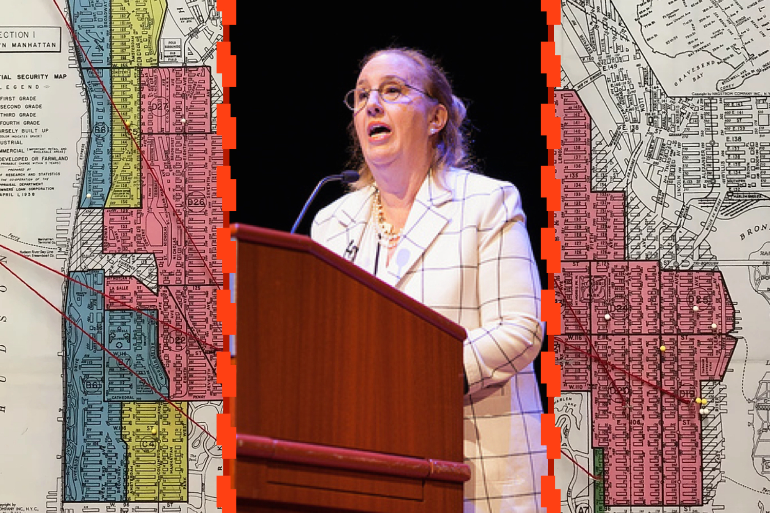 Gale Brewer, image from Manhattan Borough President's Office, and redlining map of Harlem