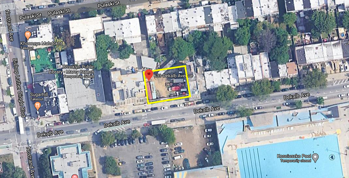 Aerial view of development site at 633 Dekalb Avenue - Google Maps