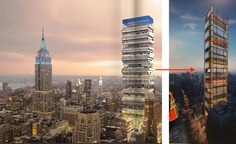 New design for possible supertall at 401 Seventh Avenue. Image by Vornado