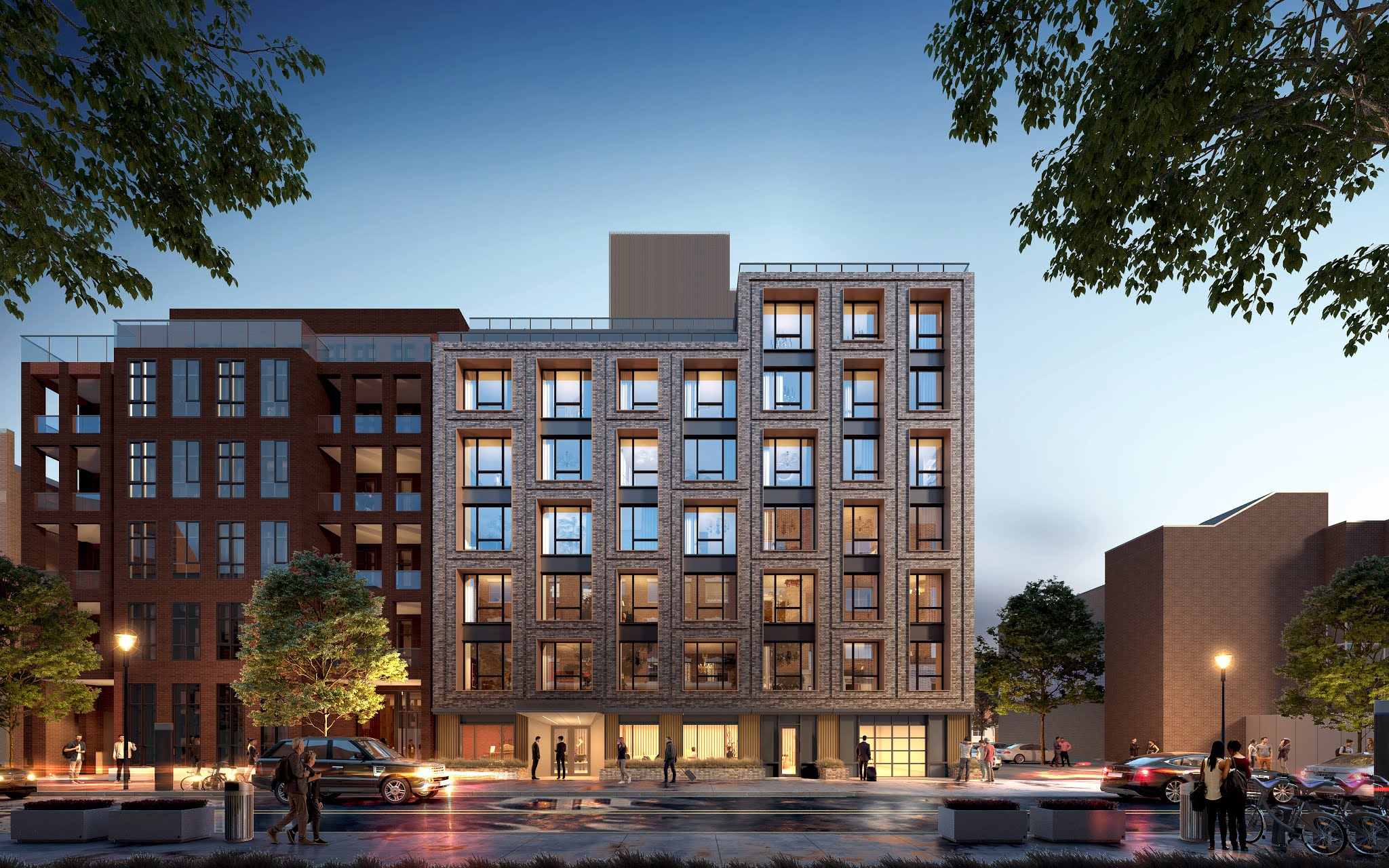 Evening rendering of 550 Prospect Place - IMC Architecture