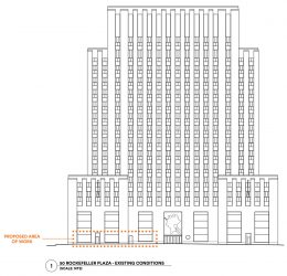 Proposed ground floor retail space at 50 Rockefellar Plaza. (Photo by Gabellini Sheppard Associates)