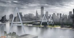 Rendering of Queens Ribbon; view from Queens to Manhattan - T.Y. Lin International