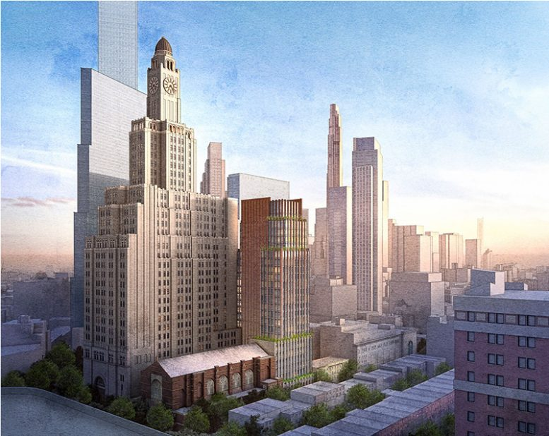Rendering of project site with a view of 130 Saint Felix Street (center) and surrounding structures - FXCollaborative