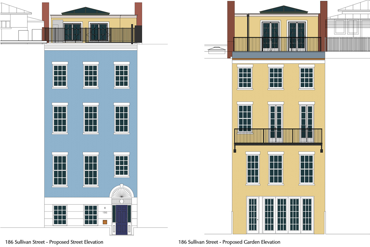 Rendering of proposed expansion at 186 Sullivan Street - Front elevation (left) and rear elevation (right)