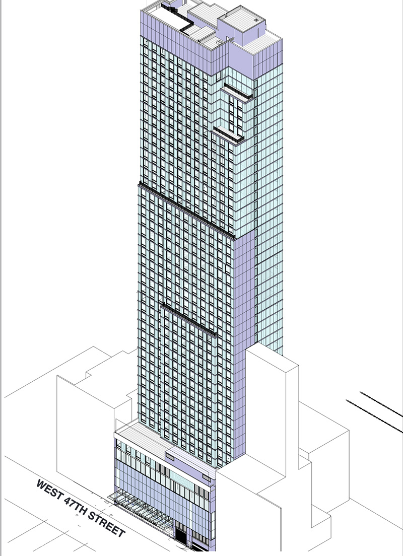 Rendering of the Cort Theatre and hotel expansion tower at 138 West 48th Street - Berg + Moss Architects