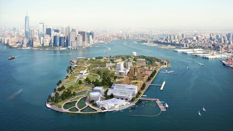 Aerial view of Governor's Island with proposed developments - WXY architecture + urban design_bloomimages