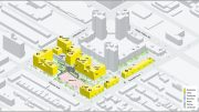 Illuastrative rendering depicts sum total building use-types within Stevenson Commons (if approved) - WXY Architecture + Urban Planning
