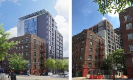 Rendering of The Bedford (left) and current view of construction (right) - Rendering by Nightnurse Images and construction photo by Magnusson Architecture and Planning