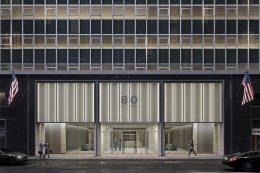 Rendering illustrates exterior view of 80 Pine Street Lobby - Fogarty Finger Architecture