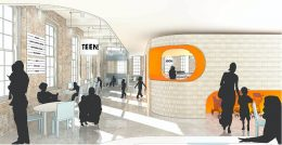 Rendering illustrates interior view of the new Adams Street Library - Workac