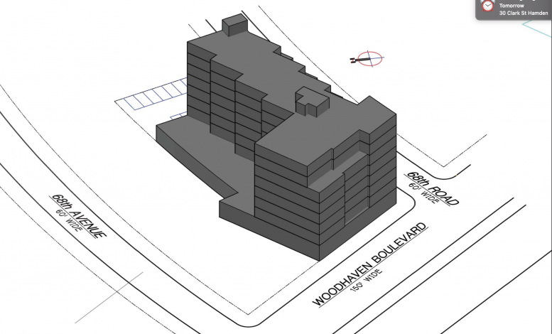 Illustration reveals proposed massing at 68-19 Woodhaven Boulevard - Gerald Caliendo Architect