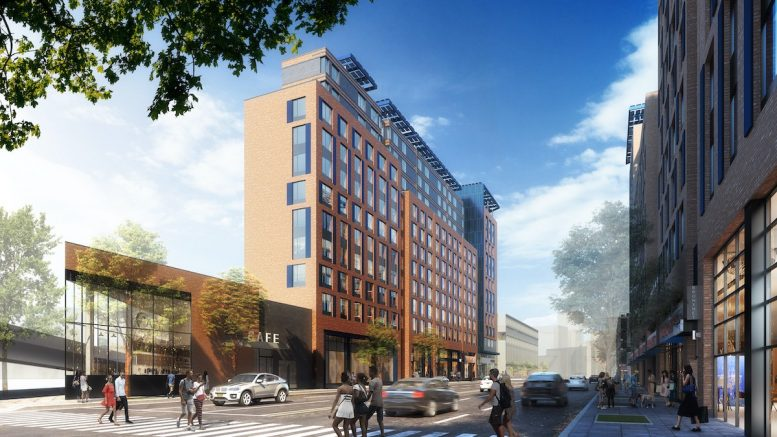 Updated renderings of ground floor commercial spaces and residential building at La Central - Bezier; FXCollaborative