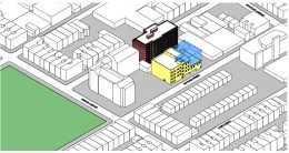 Massing illustration of proposed developments at 1250 Willoughby Avenue and 349 Suydam Street - AECOM