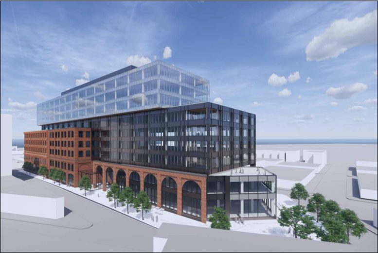 Updated rendering of the Acme Fish Expansion illustrates the Southwest corner of the development looking Northeast - Gensler Architect