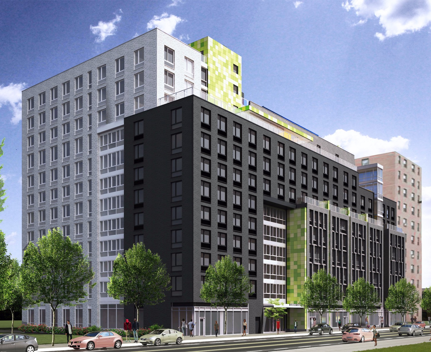Exterior rendering of Van Dyke II at 405 Dumont Avenue. Courtesy of SLCE Architects