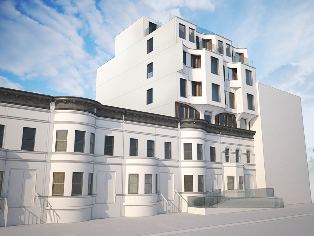 Rendering of 868-870 New York Avenue in Flatbush, Brooklyn - Opera Studios Architecture