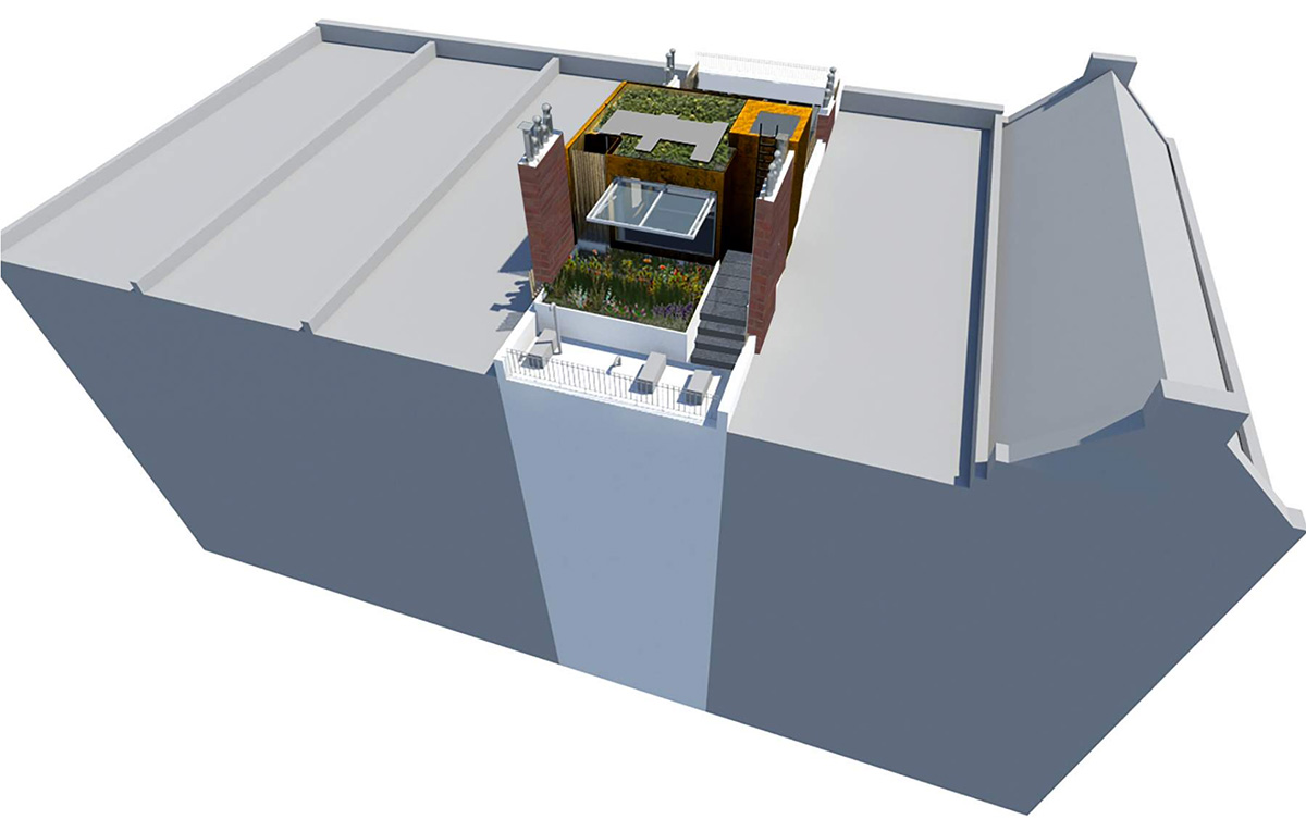 Rendering of rooftop addition at 107 East 64th Street - Pleskow Architects