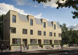 Rendering of townhouse developlent at 39 Chauncey Street - NV Design Architecture