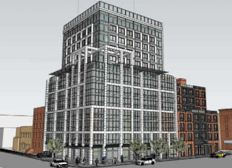 Preliminary rendering of mixed-use development - 2461 Hughes Associates