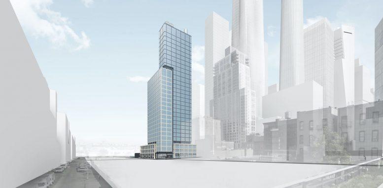 Southwest view of 601 West 29th Street In Hudson Yards. Courtesy of Douglaston Development