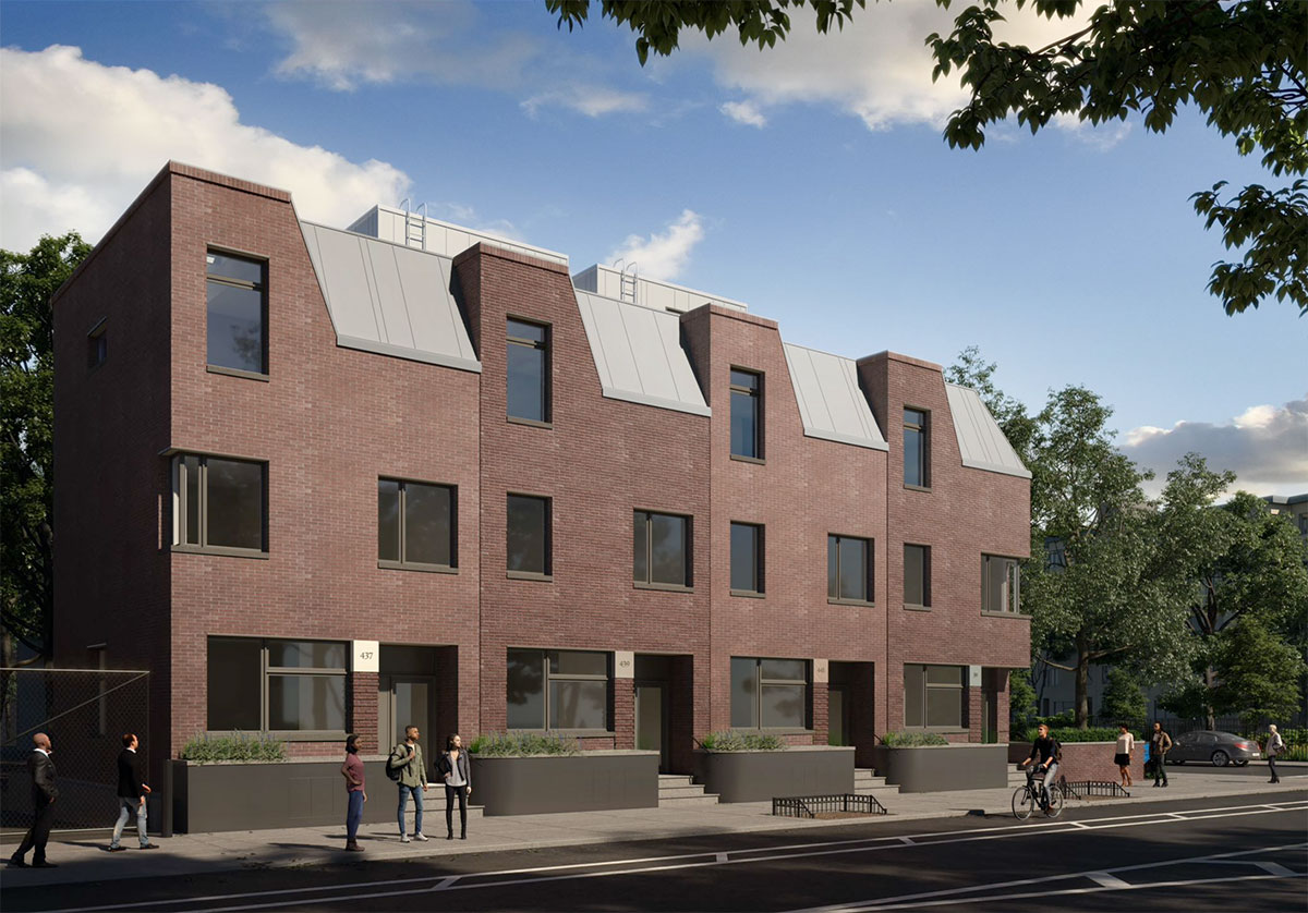 Rendering of 39 Chauncey Street; View from Lewis Avenue - NV Design Architecture