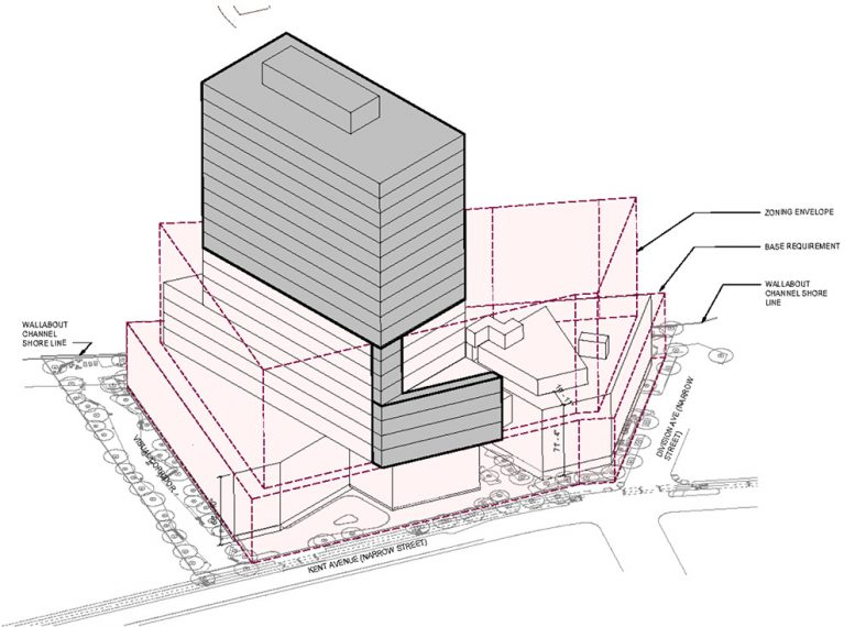Axonometric rendering of 500 Kent Avenue - Kent Member LLC