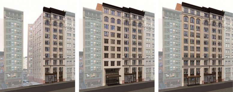 Full 17th Street elevation of the existing (left), previously proposed (center), and currently prosed (right) property at 122 Fifth Ave - The Bromley Companies; Studios Architecture