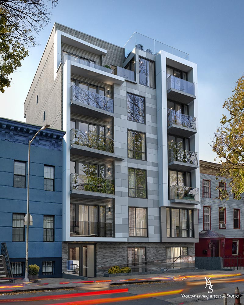 Rendering illustrates the front elevation of 107 Schaefer Street - Yagudayev Architecture
