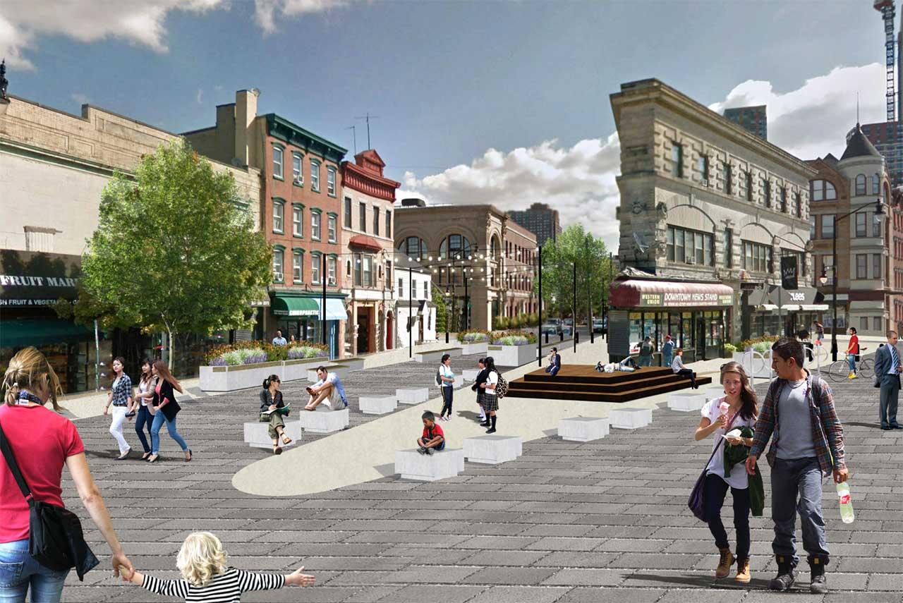 Rendering of Newark Avenue Pedestrian Plaza - Maser Consulting