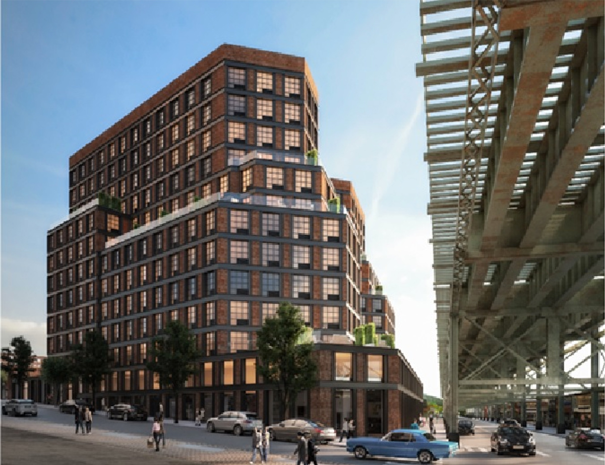 Preliminary rendering of proposed property at Roosevelt Avenue and 63rd Street - Aufgang Architects