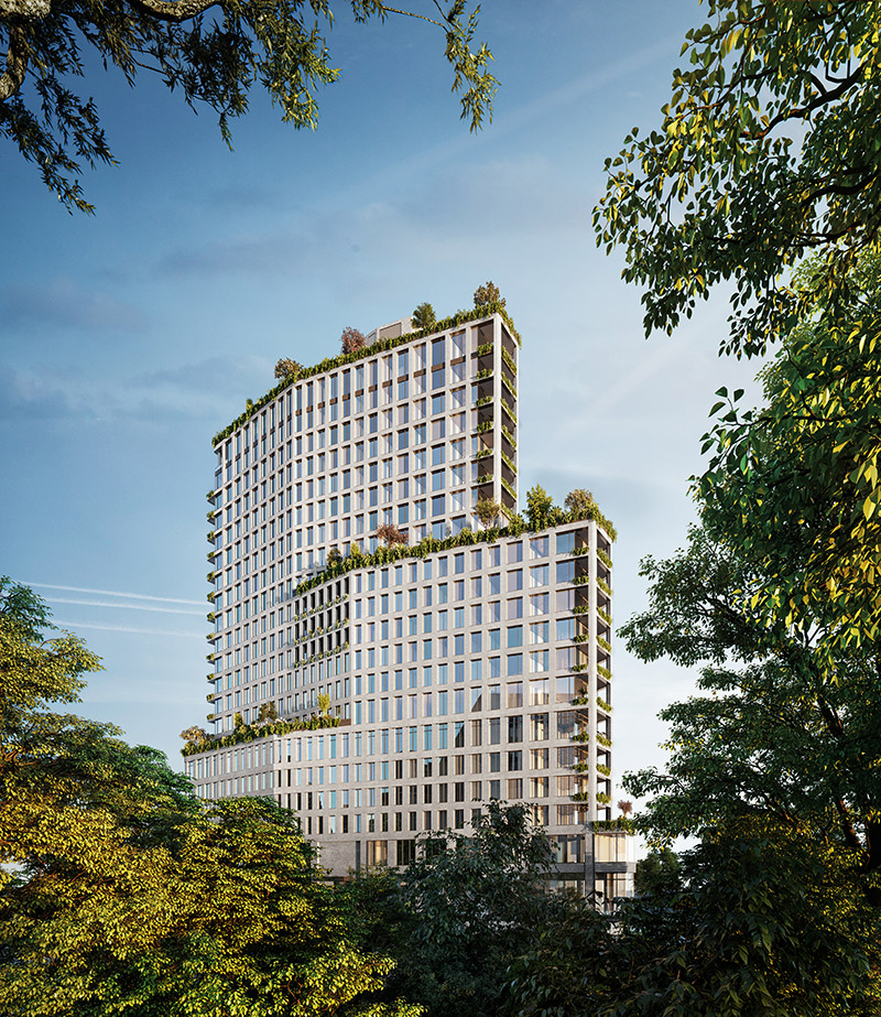 Daytime rendeing of One Boerum Place - Williams New York; SLCE Architects