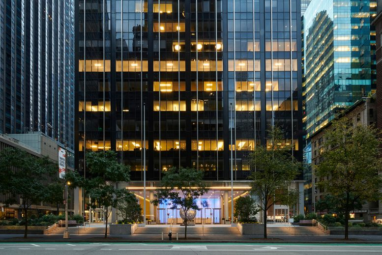 Main entry plaza at 1345 Avenue of the Americas - Courtesy of Fisher Brothers Management Company