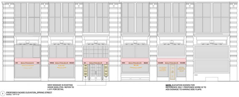Rendering of proposed awnings at 80 Spring Street - Richard H. Lewis Architect