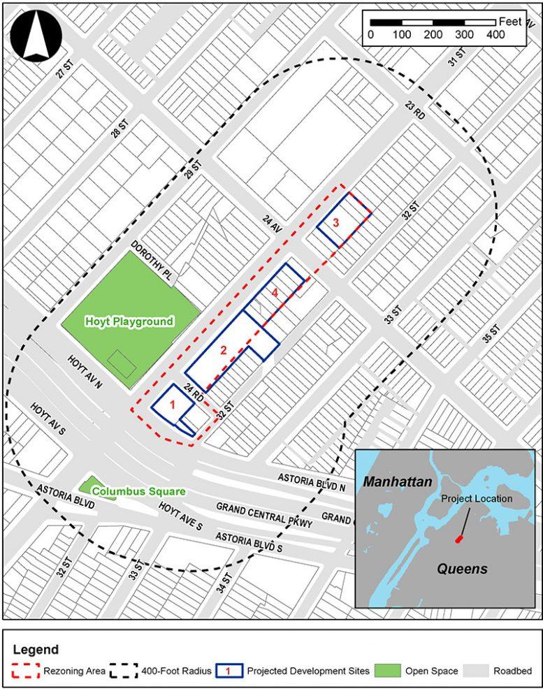 Site map of 31st Street rezoning in Astoria, Queens