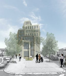 Rendering of proposed building at 1 Wythe Avenue