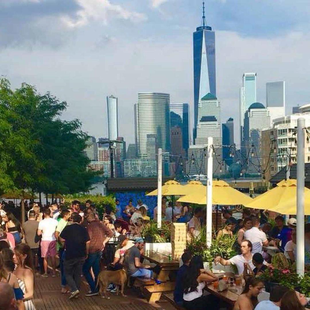 View of the Smorgusbar beer garden at Harborside Jersey City - Courtesy of Smorgusbar