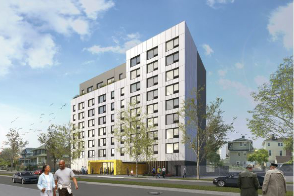Rendering of senior residence along Beach 67th Street - Think Architecture