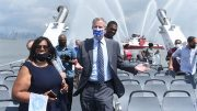 Mayor Bill de Blasio rides the NYC Ferry along the expanded St. George Terminal line